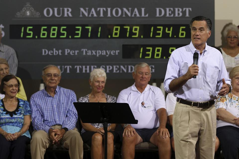 Republican presidential candidate, former Massachusetts Gov. Mitt Romney speaks at a campaign stop, Wednesday, May 16, 2012 in St. Petersburg, Fla. (AP Photo/Mary Altaffer)