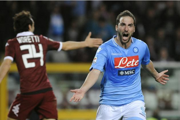 Napoli's Gonzalo Higuain celebrates after scoring against Torino FC during their Italian Serie A soccer match in Turin