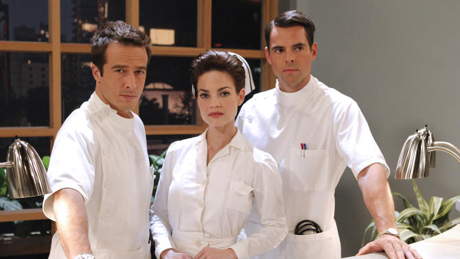 "This photo provided by ABC shows  Ryan Carnes, from left, Rebecca Herbst, and Jason Thompson, from ABC's Daytime ""General Hospital."" The show airs Monday-Friday (3:00 p.m. - 4:00 p.m., ET) on the ABC Television Network. ABC's ""General Hospital"" earned a leading 28 nominations for the Daytime Emmy awards, with four of its stars competing for honors as top actor and actress. (AP Photo/ABC, Rick Rowell)"