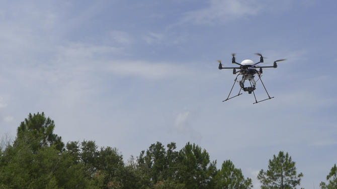 In this photo taken June 9, 2011 in Lake Alfred, Fla., a remote control helicopter fitted with a special camera flies toward an orange crop. The device allows researchers to take photos of crops from the air and detect disease or other problems. (AP Photo/Tamara Lush)