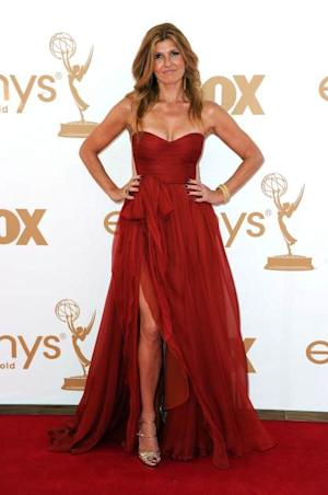 Connie Britton arrives in deep red at the 63rd Annual Primetime Emmy Awards held at Nokia Theatre L.A. LIVE in Los Angeles on September 18, 2011  -- Getty Images