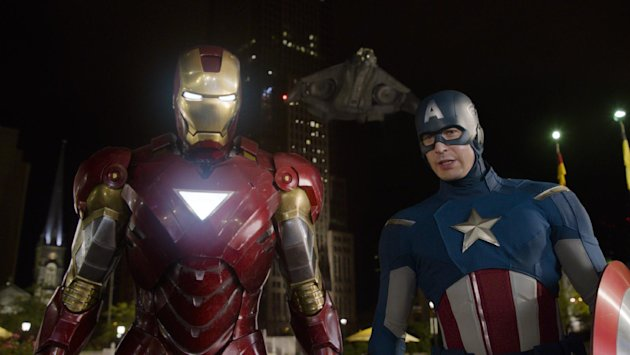 In this film image released by Disney, Iron Man, portrayed by Robert Downey Jr., left, and Captain America, portrayed by Chris Evans, are shown in a scene from &quot;The Avengers&quot; (AP Photo/Disney)