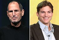 Steve Jobs, Ashton Kutcher | Photo Credits: Justin Sullivan/Getty Images; Frederick M. Brown/Getty Images