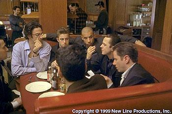 (Left to right) Writer/Director Ben Younger , Scott Caan , Vin Diesel , Giovanni Ribisi and Jamie Kennedy on the set of New Line Cinema's drama, Boiler Room
