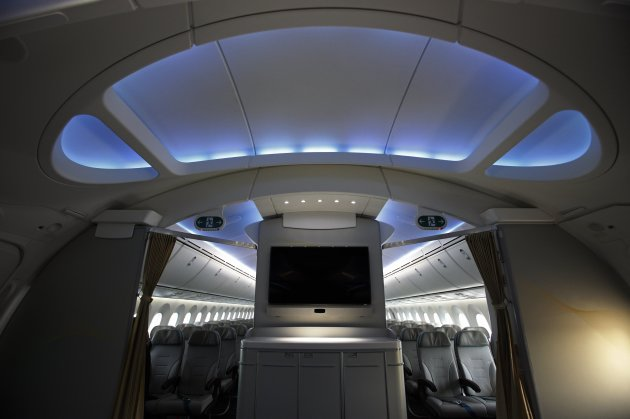 Archway of Boeing 787 Dreamliner is pictured during demonstration flight of aircraft at Singapore Airshow in Singapore