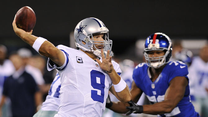 Dallas Cowboys quarterback Tony Romo (9) throws a pass during the first half of an NFL football game against the New York Giants, Wednesday, Sept. 5, 2012, in East Rutherford, N.J. (AP Photo/Bill Kostroun)