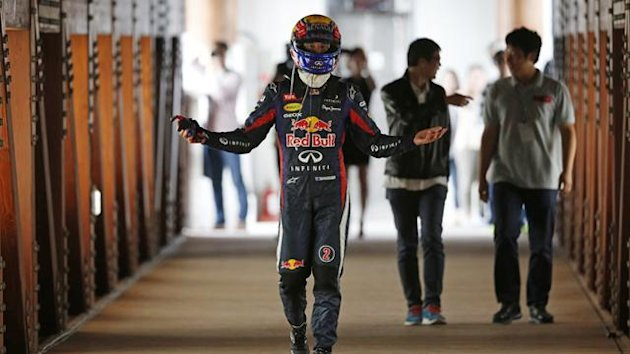Mark Webber gestures after being forced out of the Korean GP (Reuters)