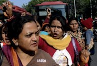 Indian activists shout slogans during a protest on December 18, 2012, following the gang-rape of a student in New Delhi. New Delhi's police chief has demanded the death penalty for rapists amid growing outrage over the gang-rape of a 23-year-old student on a school bus in the city