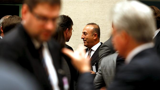 Cavusoglu arrives for a NATO ministerial meeting on Resolute Support operations in Afghanistan, at NATO Headquarters in Brussels