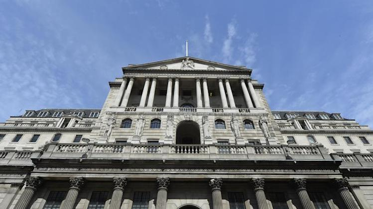 The Bank of England is seen in the City of London