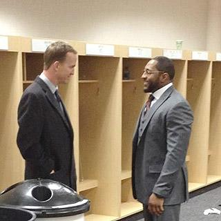 Peyton Manning shares a moment with Ray Lewis after Saturday's playoff game
