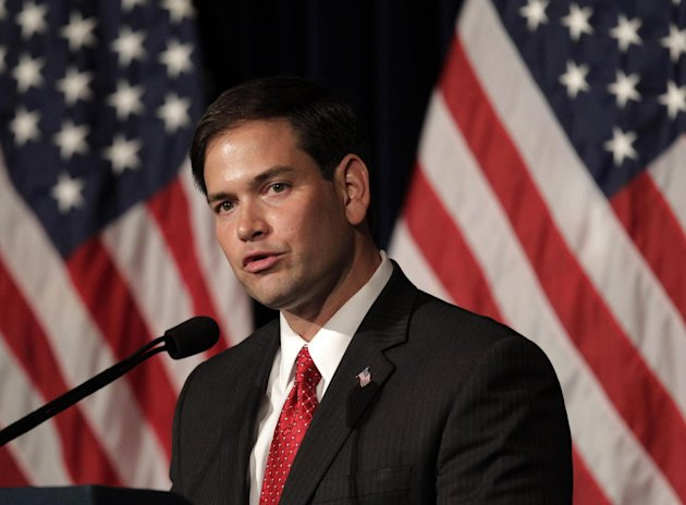 FILE - In this Aug. 23, 2011 file photo, Sen. Marco Rubio, R-Fla. speaks in Simi Valley, Calif. Rubio's push for a Republican version of immigration legislation could be the answer to GOP election-yea