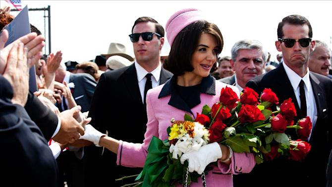 "In this publicity image released by ReelzChannel, Katie Holmes portrays Jacqueline Kennedy in a scene from the eight-part movie, ""The Kennedys,"" on cable's ReelzChannel network. At just 33, Holmes is emerging from the public hysteria of her relationship with Cruise with open roads ahead, and, possibly, renewed ambition. (AP Photo/ReelzChannel, file)"