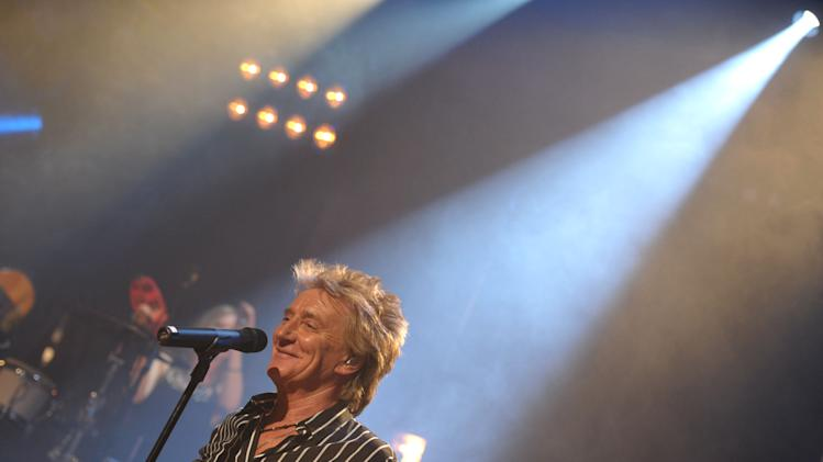 IMAGE DISTRIBUTED FOR CAPITOL RECORDS - Singer Rod Stewart performs at the Troubadour on Thursday, April 25, 2013, in Los Angeles. (Photo by John Shearer/Invision for Capitol Records/AP Images)