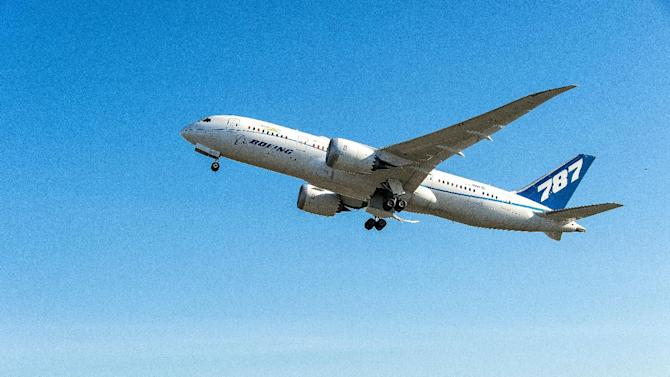 This Boeing handout photo shows the ecoDemonstrator 787 during flight testing in Seattle, Washington