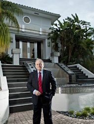 Intelligence historian and author H. Keith Melton stands outside of his Boca Raton compound. A design homage to Art Deco and the Machine Age, the 12,000-square- foot-plus compound has taken 15 years to craft.