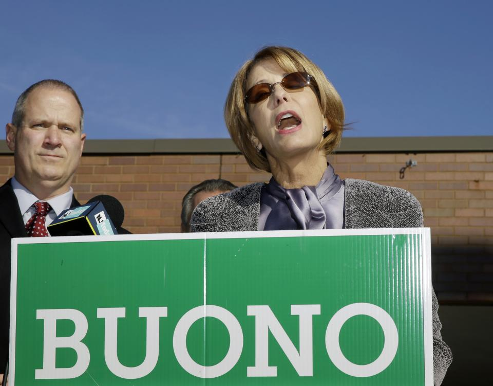 Democratic candidate for governor, Barbara Buono addresses supporters during a campaign stop, in South Brunswick, N.J., Monday, Oct. 28, 2013. Buono will face popular Republican Gov. Chris Christie in an election Tuesday, Nov. 5, 2013. (AP Photo/Mel Evans)