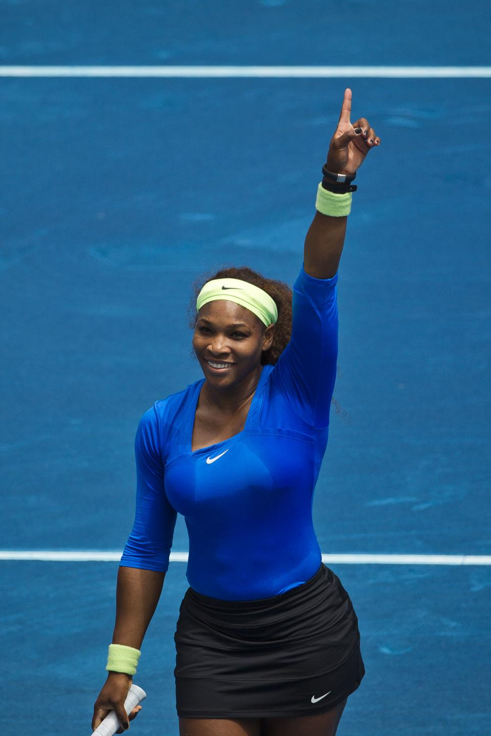 Serena Williams from the U.S. celebrates after winning the Madrid Open tennis tournament semifinal match against Czech Republic's Lucie Hradecka, in Madrid, Saturday, May 12, 2012. (AP Photo/Daniel Ochoa de Olza)