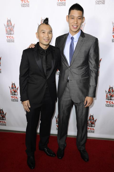 "Director Evan Jackson Leong and Jeremy Lin attend the premiere of the film ""Linsanity"" in Los Angeles"