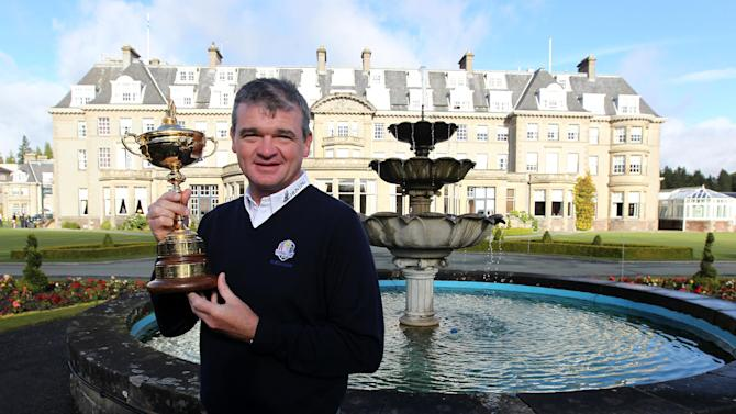 Paul Lawrie during the photo call at Gleneagles Golf Club in Perthshire, Scotland Wednesday Oct.3, 2012. Lawrie handed over the newly retained Ryder Cup trophy to Gleneagles club to mark the countdown to the 2014 Ryder Cup event which is taking place at Gleneagles. (AP Photo /Andrew Milligan/PA) UNITED KINGDOM OUT - NO SALES - NO ARCHIVES