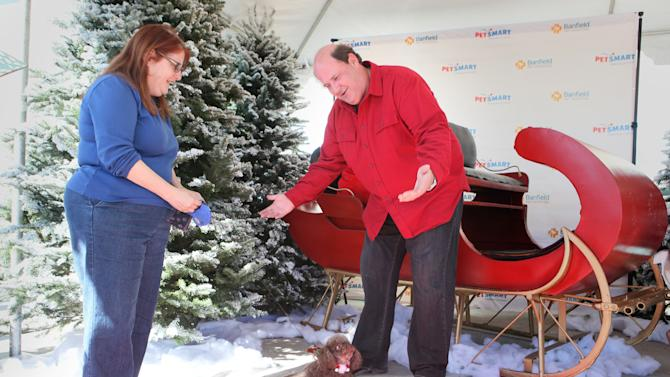 "Brian Baumgartner from NBC's ""The Office,"" right, judges Darcy, a miniature poodle, during Santa's Next Reindeer contest at the grand opening of Banfield Pet Hospital and PetSmart, Saturday, Dec. 15, 2012, in Los Angeles. Three contest winners were granted a year of free veterinary care from Banfield Pet Hospital, the world's largest veterinary practice.  (Photo by Rene Macura/Invision for Banfield Pet Hospital/AP Images)Brian Baumgartner from NBC's ""The Office"" judges Darcy, a miniature poodle, during Santa's Next Reindeer contestant at the grand opening of Banfield Pet Hospital and PetSmart, Saturday, Dec. 15, 2012, in Los Angeles. Three contest winners were granted a year of free veterinary care from Banfield Pet Hospital, the world's largest veterinary practice.  (Photo by Rene Macura/Invision for Banfield Pet Hospital/AP Images)"