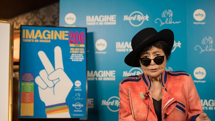 Yoko Ono Lennon appears at Hard Rock Cafe Tokyo on Thursday, December 5, 2013, to support Hard Rock's 6th annual IMAGINE THERE'S NO HUNGER campaign benefiting WhyHunger and grassroots partners combating childhood hunger and poverty worldwide. (Photo Credit: Hard Rock International/ Tsutomu Fujita AP Images for Invision)