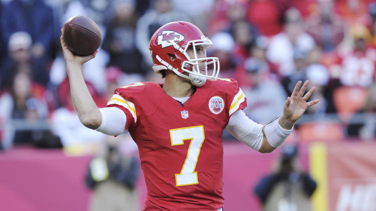 Kansas City Chiefs quarterback Matt Cassel (7)  drops back to pass during the first half of an NFL football game against the Oakland Raiders at Arrowhead Stadium in Kansas City, Mo., Sunday, Oct. 28, 2012. (AP Photo/Reed Hoffmann)