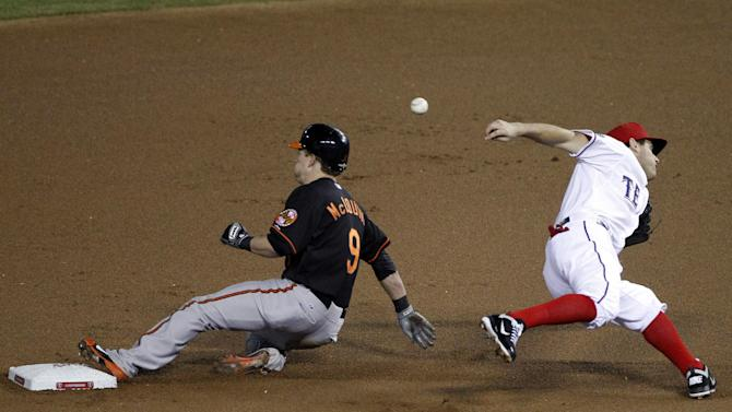Baltimore Orioles' McLouth (9) steals second base as Texas Rangers second baseman Ian Kinsler misses the throw during the first inning of an American League wild-card playoff baseball game Friday, Oct. 5, 2012, in Arlington, Texas.  (AP Photo/Tony Gutierrez)