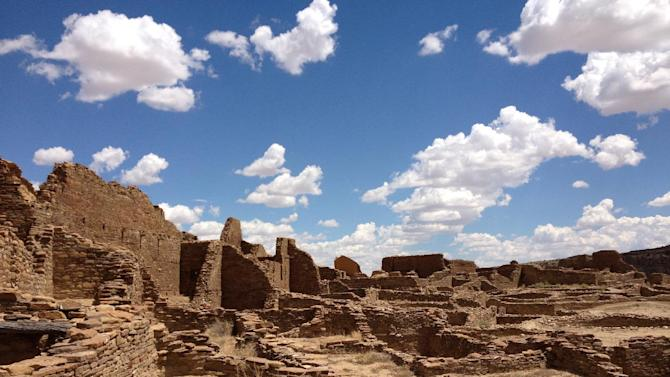 This August 2012 photo shows Pueblo Bonito, Chaco Canyon, in northwestern New Mexico. Chaco Canyon, the center of a culture that flourished from the 800s to the 1100s, is run by the National Park Service and is accessible only via dirt road. (AP Photo/Margaret Matthews)