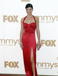 Adrianne Palicki arrives at the 63rd Primetime Emmy Awards on Sunday, Sept. 18, 2011 in Los Angeles. (AP Photo/Matt Sayles)