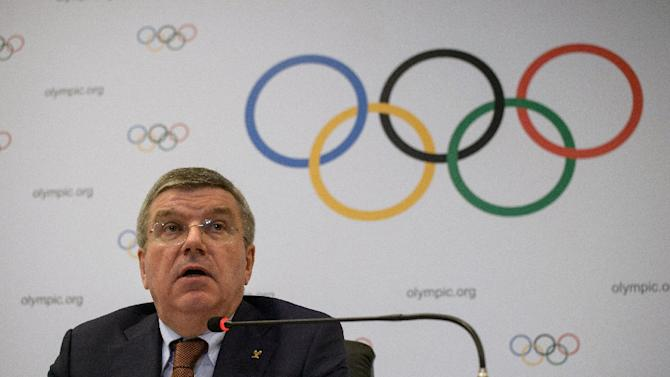 The president of the International Olympic Committee, Thomas Bach speaks to the media at the end of an IOC Executive Board meeting in Rio de Janeiro, Brazil, on February 28, 2015