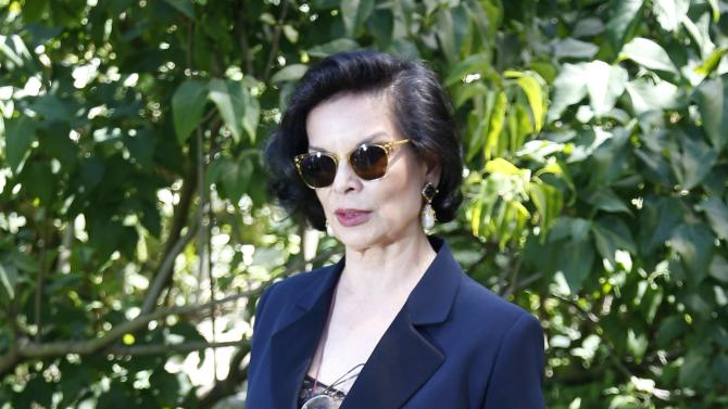 Former actress Bianca Jagger poses during a photocall before French fashion house Christian Dior Haute Couture Fall Winter 2015/2016 show in Paris