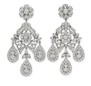 The Mike Todd diamond earrings; a gift from Mike Todd in 1957. Photo courtesy of Christie's Images LTD