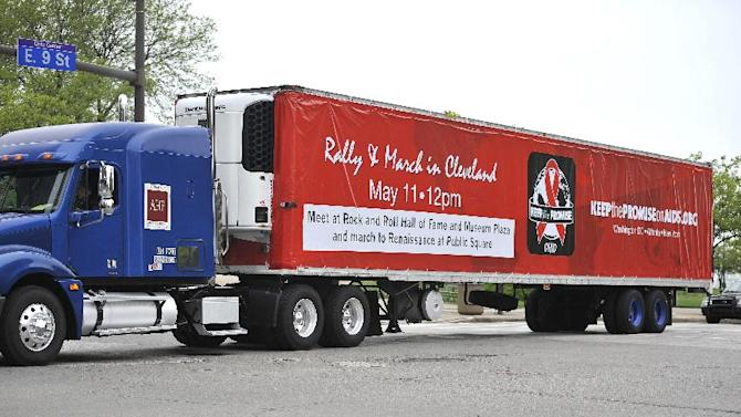 """AHF's Condom Nation big rig was specially wrapped to promote the AIDS Healthcare Foundation's """"Keep The Promise On AIDS"""" March and Rally, on Saturday, May 11, 2013 in Cleveland, Ohio. (David Richard /AP Images for AIDS Healthcare Foundation)"""
