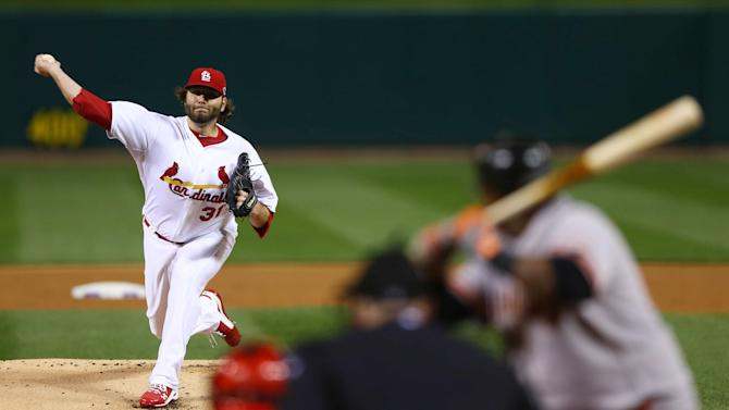 St. Louis Cardinals starting pitcher Lance Lynn throws during the first inning of Game 5 of baseball's National League championship series against the San Francisco Giants, Friday, Oct. 19, 2012, in St. Louis. (AP Photo/Elsa, Pool)