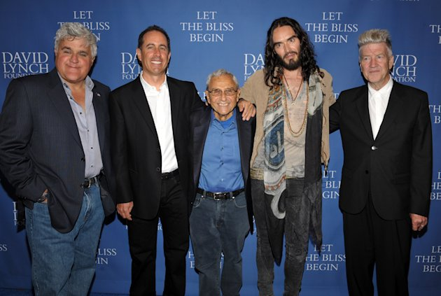 COMMERCIAL IMAGE - From left, Jay Leno, Jerry Seinfeld, George Shapiro, Russell Brand and David Lynch arrive at David Lynch Foundation:  A Night of Comedy honoring George Shapiro at the Beverly Wilshi
