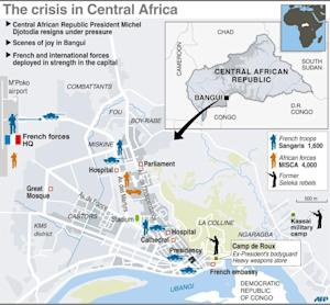 A map of the Central African Republic's capital …