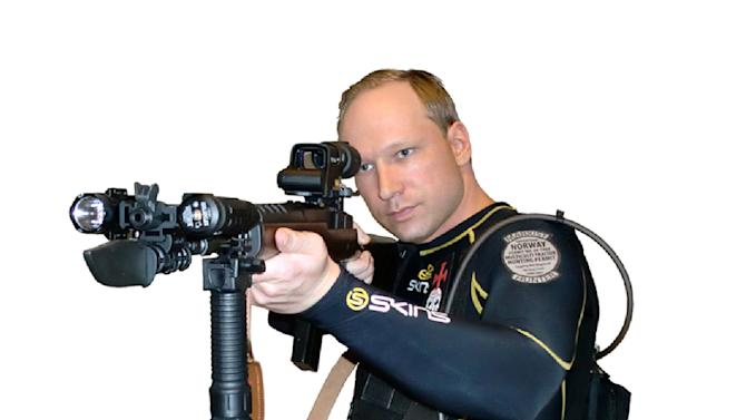 EDS NOTE: IMAGE HAS BEEN DIGITALLY ALTERED BY THE ORIGINAL SOURCE TO REMOVE THE BACKGROUND - This image shows Anders Behring Breivik from a manifesto attributed to him that was discovered Saturday, July 23, 2011. Breivik is a suspect in a bombing in Oslo and a shooting on a nearby island which occurred on Friday, July 22, 2011. The Norwegian news agency NTB said Breivik wrote a 1,500-page manifesto before the attack in which he attacked multiculturalism and Muslim immigration. The document, which contained this and other photos, also described how to acquire explosives. (AP Photo/via Scanpix)