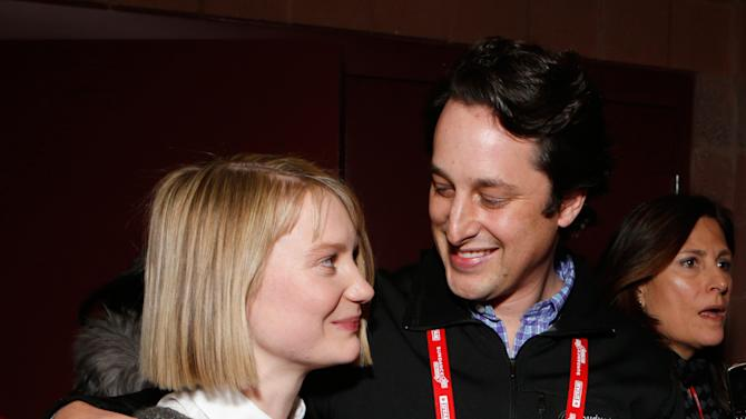 """Actress Mia Wasikowska, left, and Fox Searchlight Senior Vice President of Production David Greenbaum attend Fox Searchlight's """"The Stoker"""" premiere during Sundance Film Festival on Sunday, Jan. 20, 2012 in Park City, Utah. (Photo by Todd Williamson /Invision for Fox Searchlight/AP Images)"""