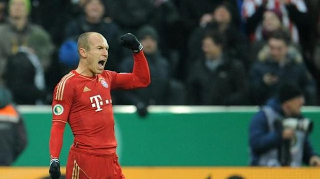 Arjen Robben scores against Borussia Dortmund for Bayern Munich (AFP)