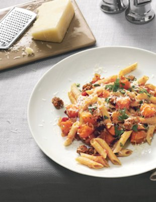 Pasta with butternut squash and lamb