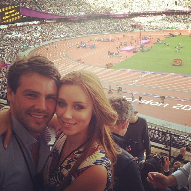 Celebrity Twitpics: The Saturdays’ Una Healy and her new husband rugby player Ben Foden attended the Olympics on Sunday, where they watched Usain Bolt race to victory in the mens’ 100m. The gorgeous s