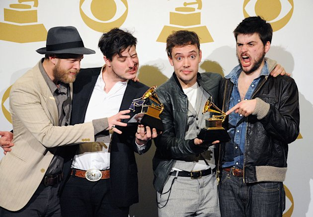 "The 55th Annual GRAMMY Awards - Press Room: Ted Dwayne, Marcus Mumford, Ben Lovett and ""Country"" Winston Marshall of Mumford and Sons"