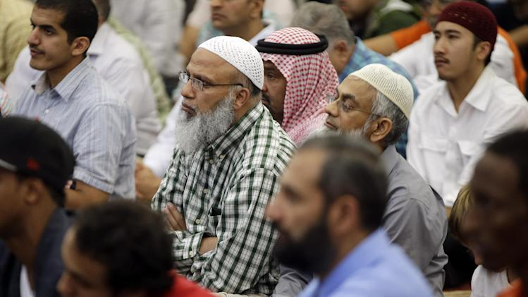 Worshipers listen to the sermon during midday prayers at the Islamic Center of Murfreesboro on Friday, Aug. 10, 2012, in Murfreesboro, Tenn. Opponents of  the mosque waged a two-year court battle trying to keep it from opening. (AP Photo/Mark Humphrey)