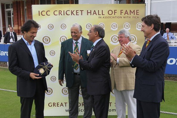 LONDON, ENGLAND - JULY 14:  Former Test cricketer Imran Khan of Pakistan is inducted into the ICC Cricket Hall of Fame during day two of the First Test between Pakistan and Australia at Lords on July