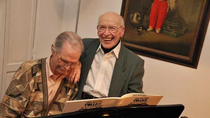 This April 12, 2011 picture provided by Freedom to Marry shows Richard Dorr, 84, left, and John Mace, 91, at their home in New York City where they both work as voice teachers. They have been partners for 61 years, and have been hoping that legislation passes that would enable them to get married in New York. (AP Photo/Freedom to Marry, EqualityPhotography.com, Jamie McGonnigal)