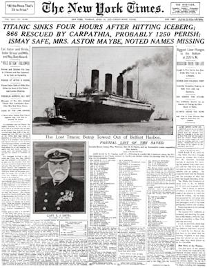 "This image provided by the New York Times shows its April 16, 1912 front page coverage of the Titanic disaster. The largest ship afloat at the time, the Titanic sank in the north Atlantic Ocean on April 15, 1912, after colliding with an iceberg during her maiden voyage from Southampton to New York City. It was a news story that would change the news. From the moment that a brief Associated Press dispatch relayed the wireless distress call _ ""Titanic ... reported having struck an iceberg. The steamer said that immediate assistance was required"" _ reporters and editors scrambled. In ways that seem familiar today, they adapted a dawning newsgathering technology and organized saturation coverage and managed to cover what one authority calls ""the first really, truly international news event where anyone anywhere in the world could pick up a newspaper and read about it."" (AP Photo/The New York Times)"