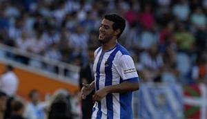 Real Sociedad's Vela celebrates scoring a goal against Getafe during their Spanish first division soccer match at Anoeta stadium in San Sebastian