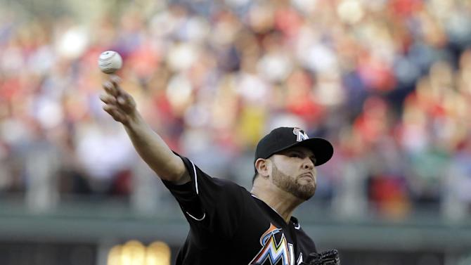 Miami Marlins pitcher Ricky Nolasco throws in the third inning of a baseball game against the Philadelphia Phillies, Tuesday, June 4, 2013, in Philadelphia. (AP Photo/Laurence Kesterson)