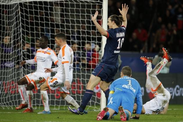 Paris Saint Germain's Zlatan Ibrahimovic scores a goal against Valenciennes during their French Ligue 1 soccer match at Parc des Princes Stadium in Paris
